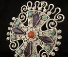 vintage Deco Matl Matilde Poulat Mexican silver jeweled Pin Pendant