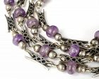Cecilia Mexican silver geometric links Necklace with amethyst beads