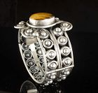 Los Ballesteros Mexican silver Bracelet with tiger's eye