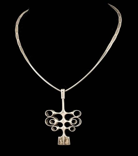 Ostern for David Andersen Norway modernist silver Pendant Necklace