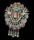 "3.5"" Rivera Matl style Mexican silver jeweled Pin Brooch, palomas"