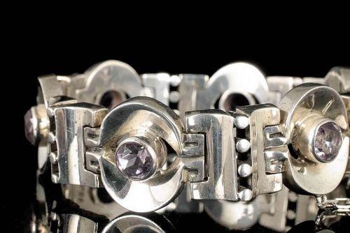 Los Ballesteros Mexican 970 silver amethyst Bracelet A. Pineda design