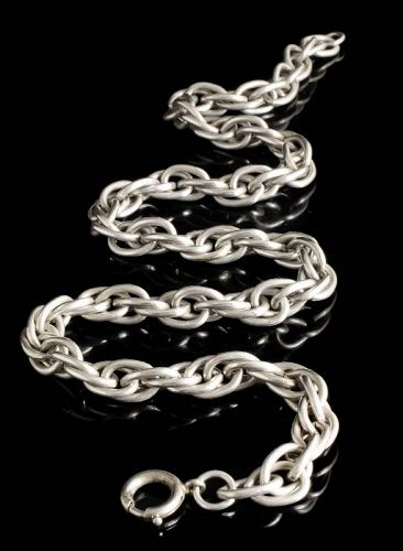 heavy Art Deco sterling silver woven Chain Necklace