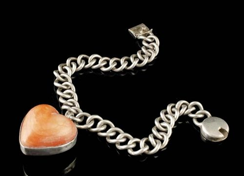 Mexican Deco silver and carved stone heart Charm Bracelet