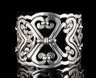 Mexican Deco silver knots and hearts Cuff Bracelet