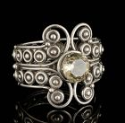 huge Los Ballesteros Mexican silver and topaz hinged Bangle Bracelet