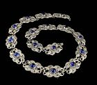 1950s ProSa Mexican silver and cobalt blue glass cabs Necklace