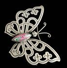 big Mexican Deco silver Venetian Murano glass butterfly Pin Brooch
