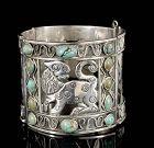 massive Casa Prieto Mexican silver and turquoise jaguar Bracelet