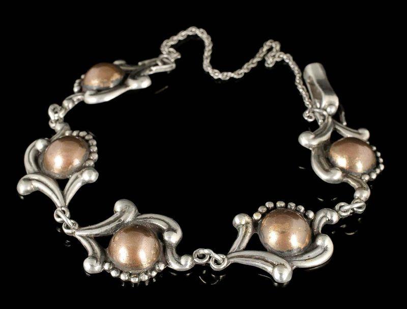 Los Castillo Mexican silver mixed metals repousse Bracelet