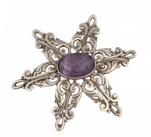 ProSa Mexican silver amethyst starburst Pin Brooch