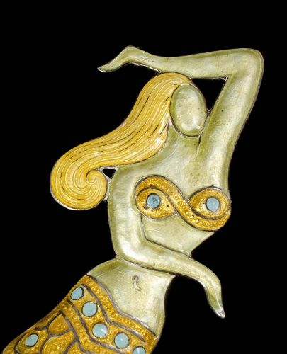 rarest Margot de Taxco Mexican silver enamel mermaid Pin Brooch