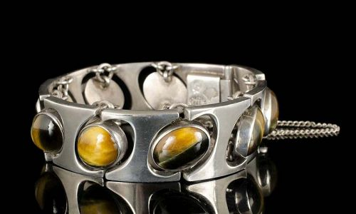 Antonio Pineda Mexican 970 silver and tiger's eye Bracelet