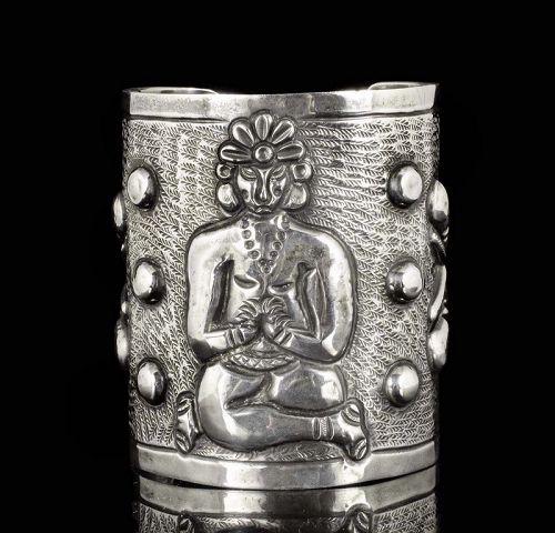 rare A. Tobias figural Mexican silver repousse Cuff Bracelet
