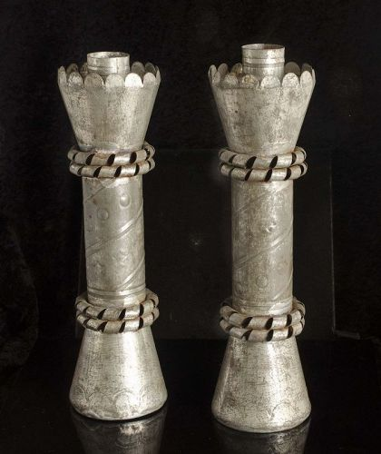 "9"" rare set of 2 William Spratling Mexican Deco tin Candleholders"
