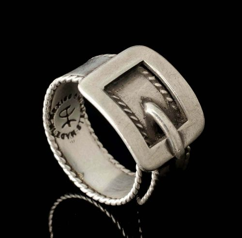 Hector Aguilar Mexican silver buckle Ring, adjstbl