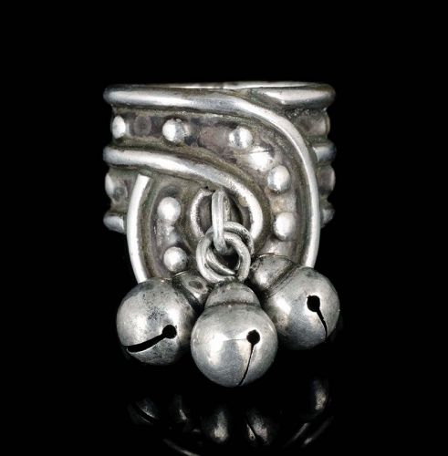 early William Spratling Mexican Deco silver Ring with cascabeles
