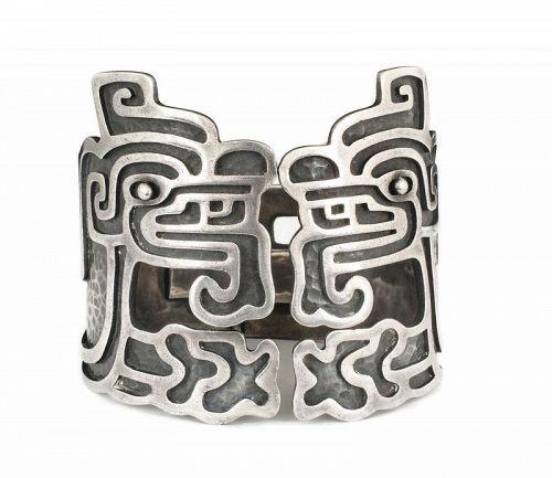 rare Margot de Taxco Mexican silver Quetzalcoatl Clamper Bracelet