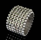 wide Mexican Deco multi-row silver spheres and turquoise Bracelet