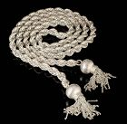 "43.5"" Jacopo Mexican silver Lariat Necklace with tassels"