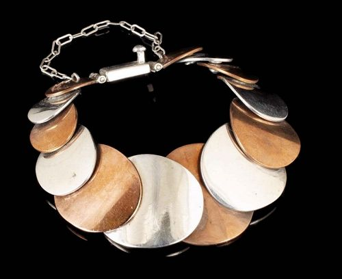 Jose Luis Flores Mexican silver copper Bracelet in an Aguilar design