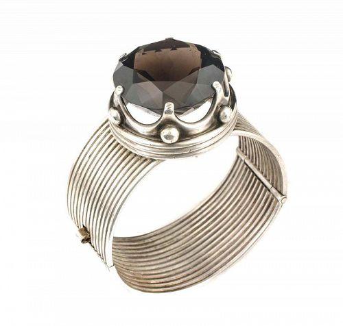 Los Ballesteros Mexican silver huge smokey quartz hinged Bracelet