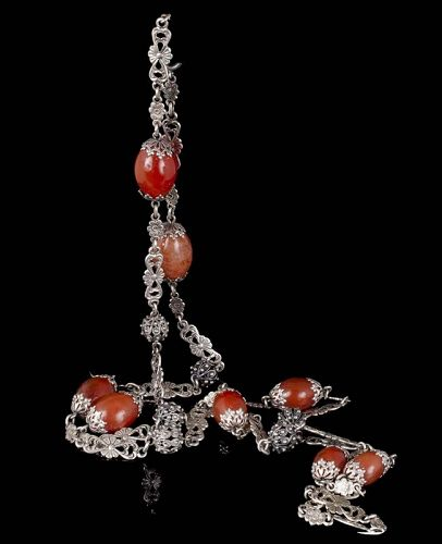 Italian Peruzzi Renaissance Revival silver carnelian Chain Necklace