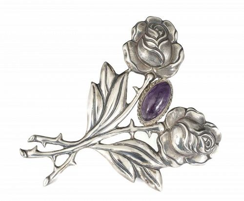 big Mexican Deco silver repousse double rose Pin Brooch with amethyst