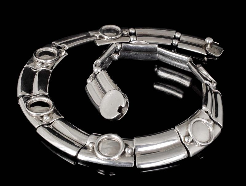 Jondell Mexican silver Necklace ~ Spratling double bamboo design
