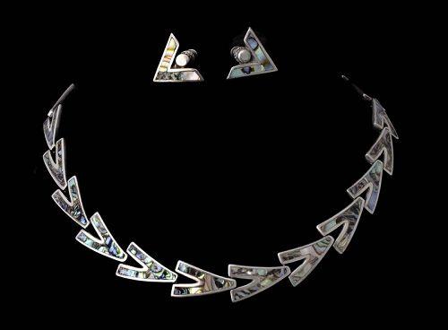 Los Castillo mozaico Azteca Mexican silver Necklace Earrings set