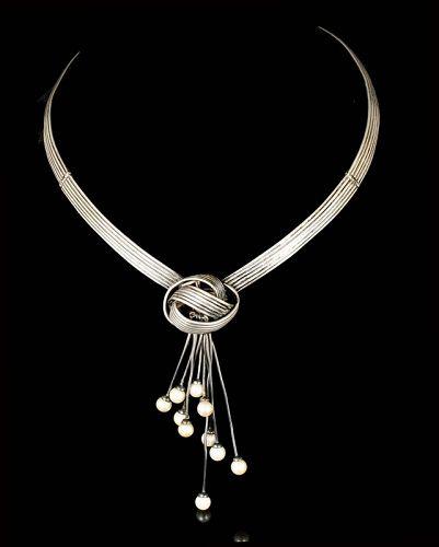 rare Antonio Pineda Mexican 970 silver  and pearls Necklace
