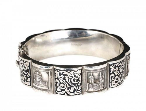 Topazio Deco 833 silver monuments of Portugal hinged Bracelet