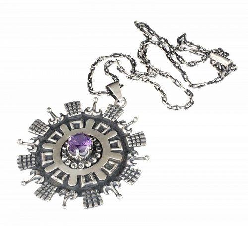 huge Los Ballesteros / Cheo Mexican silver amethyst Pendant Necklace