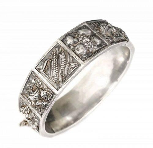 Portuguese Deco silver harvest calendar hinged Bracelet