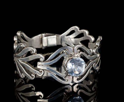 Taxco modernist Mexican silver foliate Bracelet with aqua glass gem