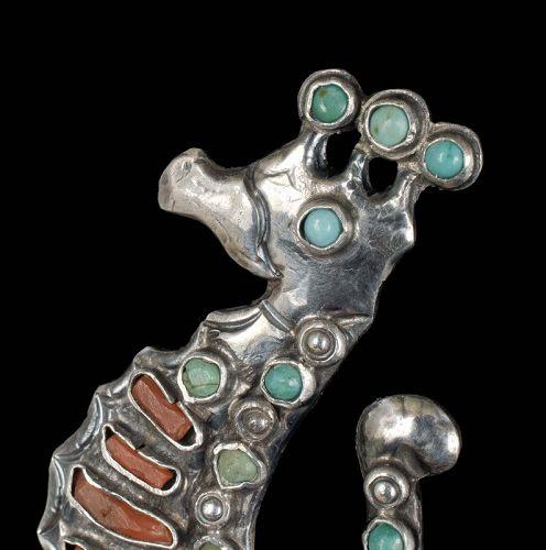Matl Matilde Poulat Mexican silver sea horse Pin Brooch