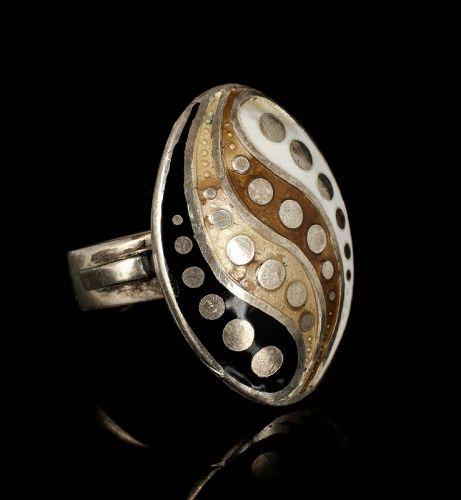rare Margot de Taxco Mexican silver enamel Ring ~ yin yang des no 5710