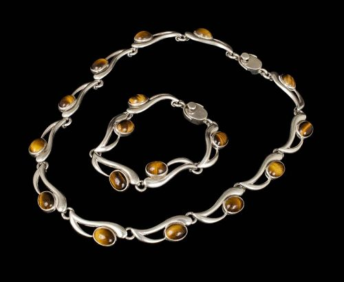 Mexican silver and tiger's eye Necklace Bracelet set ~ mod Pineda dsgn