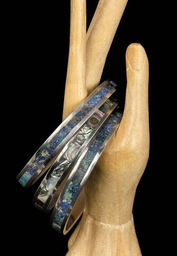 set of 3 Los Castillo Mexican silver mozaico Bangle Bracelets