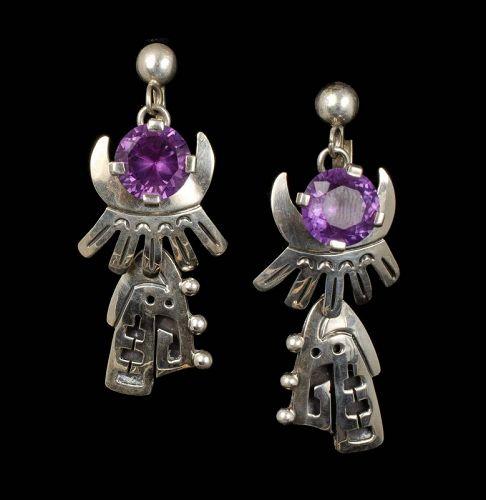 long Mexican silver color-change sapphire Dangle Earrings, Ledesma dsg