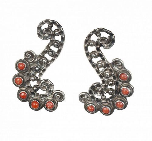 Matl Matilde Poulat Mexican silver and coral Earrings