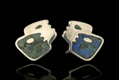 Teran for Los Castillo Mexican silver mod mozaico Earrings