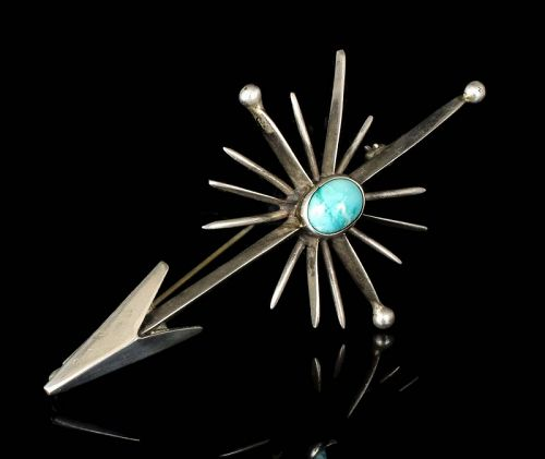 Antonio Pineda Mexican silver turquoise Pin Brooch arrow and starburst