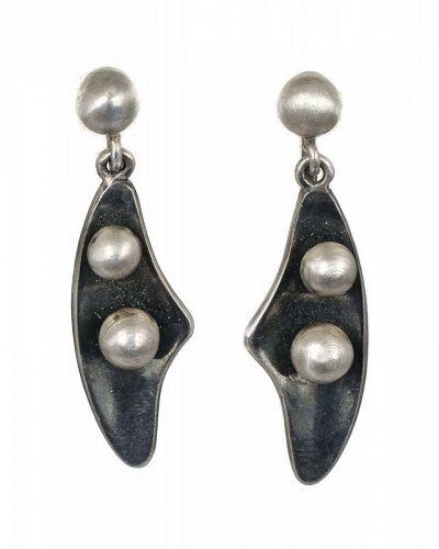 Sigi Pineda Mexican silver peas in a pod modernist Dangle Earrings