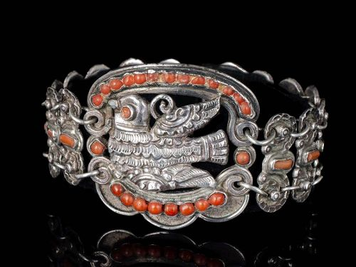 early Matilde Poulat Matl Mexican silver coral Bracelet ~ paloma