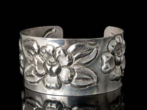 Mexican Deco silver repousse Aztec Rose Cuff Bracelet