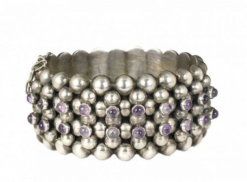 Mexican Deco silver and amethyst multi-row beaded Bracelet