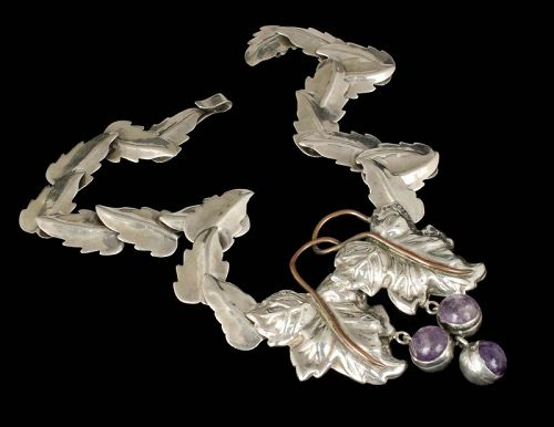 rare Fred Davis Mexican Deco silver, copper, amethyst Necklace