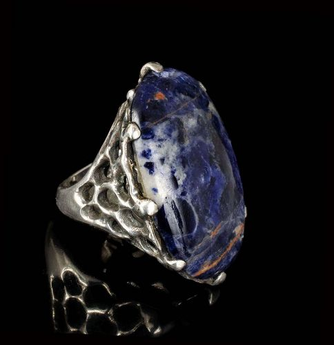 huge Mateo Mexican 950 silver brutalist Ring with sodalite