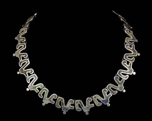 Los Castillo mozaico Azteca Mexican silver glyph Necklace